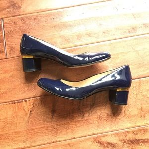 VC signature Patent Navy Block Heel w/Gold accent